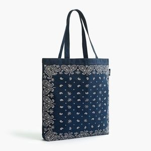 Jcrew Printed Large Canvas Tote Bag NWT
